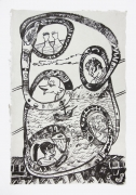 , Journey to Yelpa,1999, Ink on mulberry paper, 17 x 12 1/2 in.