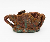 , Red Luster Floating World,1986,Luster glazed earthenware, 4 3/4 x 9 7/8 x 4 1/4 in.