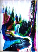 , MATTHEW BRANDT Moose Falls Y2M2C2, 2013 Multi layered duraclear prints processed with Moose Falls water, LED lightbox 65 1/4 x 46 1/4 x 2 in. (165.7 x 117.5 x 5.1 cm)