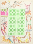 , Untitled [Green vertical square maze and woman with stockings],1964. Mixed media with stencil on paper. 30 x 22 in.