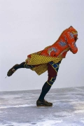 YINKA SHONIBARE, Reverend on Ice, 2005. Life-size fiberglass mannequin, Dutch wax-printed cotton, steel