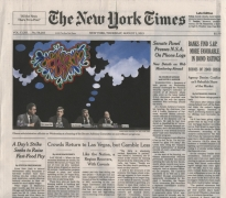 , FRED TOMASELLI Aug. 1, 2013, 2013 Collage, gouache, marker, and archival inkjet print on watercolor paper 10 3/4 x 12 in.