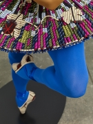 , YINKA SHONIBARE, MBE Ballet God (Apollo) (detail), 2015 Fibreglass mannequin, Dutch wax printed cotton textile, lyre, sword, globe, pointe shoes and steel baseplate 75 15/16 x 33 13/16 x 33 7/16 in. (193 x 86 x 85 cm)