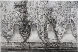 SHI ZHIYING 石至莹 Cambodian Relief 柬埔寨浮雕墙, 2013 Oil on canvas 78 1/4 x 118 in. (200 x 300 cm)