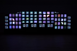 , NAM JUNE PAIK M200/Video Wall, 1991 Television monitors 118 1/16 x 377 15/16 x 19 5/8 in. (300 x 960 x 50 cm)