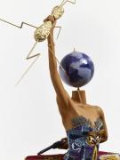 , YINKA SHONIBARE, MBEBallet God (Zeus) (detail),2015Fibreglass mannequin, Dutch wax printed cotton textile, lightning, gun, globe, pointe shoes and steel baseplate92 7/8 x 61 x 55 1/16 in. (236 x 155 x 140 cm)