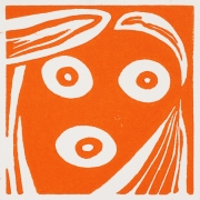 """Special edition linocut """"selfie"""" by the artist 4 x 4 in."""
