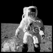 Alan Bean at Sharp Crater With the Handtool Carrier; Photographed by Charles Conrad, Apollo 12, November 14-24, 1969