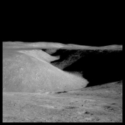 Hadley Rille: 80 Miles Long, 1 Mile Wide  and 1000 Feet Deep; Photographed by James Irwin, Apollo 15, July 26-August 7, 1971