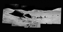 "084, Composite of Eugene Cernan and the Lunar Rover At ""Split Rock"", Apollo 17, December 7-19, 1972, digital c-print, 48 x 96 inches"