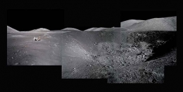 082, Composite of Harrison Schmitt at Shorty Crater; Note Orange Soil,  Apollo 17, December 7-19, 1972, digital c-print, 48 x 96 inches