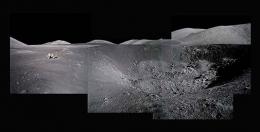 082, Composite of Harrison Schmitt at Shorty Crater; Note Orange Soil,  Apollo 17, December 7-19, 1972, digital c-print, 48 x 96 inches