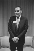 Businessman at a press party, Detroit, 1968