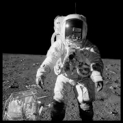 049, Alan Bean at Sharp Crater With the Handtool Carrier, Apollo 12, November 14-24, 1969, digital c-print, 24.5 x 24.5 inches