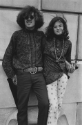 Couple outside of an art museum, 1968