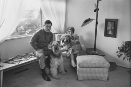 Jim and Judy Yardley with their dogs, Sport and Barney, Detroit, 1968