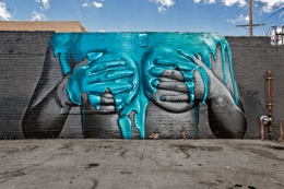 Turquoise Paint Breast Mural, Los Angeles, 2011