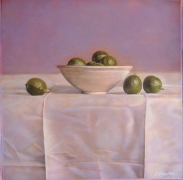 Still Life with Limes in a Chinese Bowl, hand-colored gelatin silver print, 9 x 9 inches
