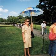 Woman with Umbrella at Vietnam Memorial on The Mall, Washington, DC