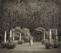 Pillar Garden, The Courts, from the series In the Garden, 2004, platinum print, 16 x 18 1/2 inches