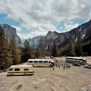 Tour Buses & Motorhome at Inspiration Point, Yosemite National Park, California