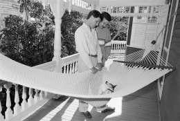 Trip and Alan with their Jack Russell, Key West, Florida, 1988