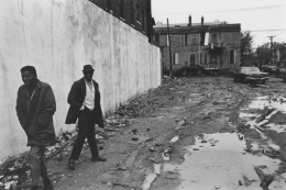 Pedestrians at the corner of Jefferson Avenue and Conners, Detroit, 1968