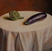 Still Life with Artichoke and Aubergine, hand-colored gelatin silver print, 9 x 9 inches