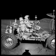 070, David Scott Drives the First Lunar Rover; Note Aerial Navigation Photographs,  Apollo 15, July 26-August 7, 1971, digital c-print, 24.5 x 24.5 inches