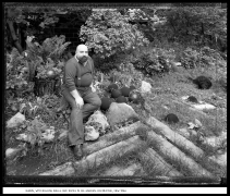 Ramon with Bowling Balls and Rocks in his Garden, Rochester, New York, 1985, vintage gelatin silver print