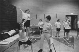 Women's gymnastics class, Detroit, 1968