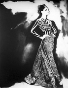 """""""Night Bloom"""", Dress by Gianni Versace, Annelise Seubert, Paris, The New York Times Magazine, March 31, 1996, gelatin silver print, 14 x 11 inches"""