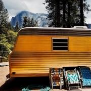 Motorhome at Half Dome, Yosemite National Park, California