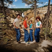 Family at Lower Falls Overlook, Yellowstone National Park, Wyoming
