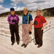 Three Men at Upper Rim Geyser Basin, Yellowstone National Park, Wyoming