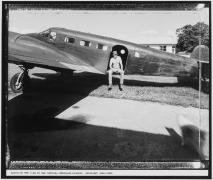 Austin on the C-45 at the National Warplane Museum, Geneseo, New York, 1985, vintage gelatin silver print
