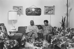 Husband and wife at home with their youngest child, Detroit, 1968