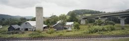 Farmstead, tracks, overpass, near Lyndonville, Caledonia County, Vermont,