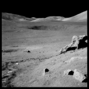 The Valley of Taurus-Littrow From Split Rock, With Trash and Footprints;  Photographed by Harrison Schmitt, Apollo 17, December 7-19, 1972