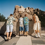 Family in Hawaiian Shirts at Mt. Rushmore, South Dakota