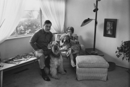 Jim and Judy Yardley with their dogs, Sport and Barney , 1968