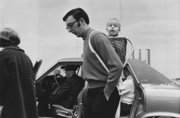 Father and child at the Detroit Auto Show, 1968