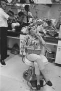 Beauty salon client smoking, Detroit, 1968