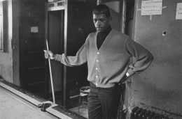 Pool player in an east side poolroom, Detroit, 1968