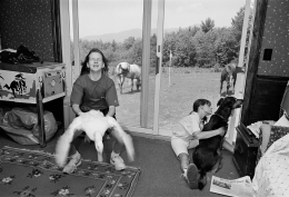 Girls with Duck, Dog, and Horses, Tufton, New Hampshire, 1992