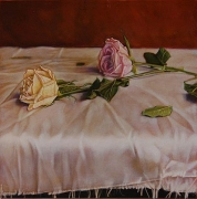 Two Roses on a Tableclothe after Manet, hand-colored gelatin silver print