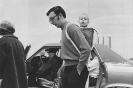Father and child at the Detroit Auto Show, Detroit, 1968