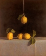 Still Life with Hanging Lemons, hand-colored gelatin silver print