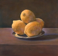 Still Life with Lemons after Francisco Zurbaran, hand-colored gelatin silver print, 9 x 9 inches