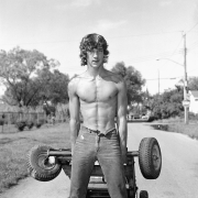 Young Man Pulling a Go-Kart, 1983-84